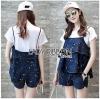 Lady Ribbon Korea Korea LR05300616 &#x1F380 Lady Ribbon's Made &#x1F380 Lady Kate Fashionable Street T-Shirt and Denim Full Set