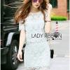 Lady Ribbon Korea Dress ลูกไม้ LR02130616 &#x1F380 Lady Ribbon's Made &#x1F380 Lady Jane Sweet Feminine Minty Lace Set