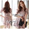 Lady Ribbon Korea Closet Jumpsuit LR13230616 &#x1F380Lady Ribbon's Made &#x1F380Lady Lana Flower Print A-Line Dress เ