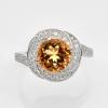 แหวนพลอยแท้ แหวนเงิน925 พลอยซิทริน ประดับเพชร CZ ชุบทองคำขาว