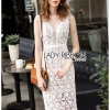 🎀 Lady Ribbon's Made 🎀Lady Eleanore Smart Elegant Ivory Guipure Lace Dress