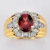 แหวนทองแท้ ประดับโกเมน เพชรแท้
