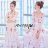 Lady Ribbon's Made &#x1F380 Lady Korea Florence Boho Chic Floral Printed Maxi Dress