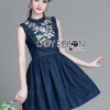 Lady Ribbon's Made &#x1F380 Lady Katie Embroidered Frilled Sleeveless Denim Korea Mini Dres