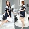 Dress Lady Ribbon Koreain Navy Style เดรส