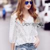 Laser-Cut and Embroidered White Cotton Blouse