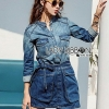 Lady Sarah Street Chic Denim Shirt Dress