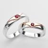 แหวนคู่รักฝังพลอยแท้ แหวนเงินแท้ 925 ชุบทองคำขาว ฝังพลอยทับทิม