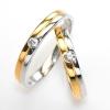 แหวนคู่รักฝังพลอยแท้ แหวนเงินแท้ 925 ชุบ 2 กษัตริย์ ฝังพลอยเพทาย