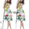 Lady Ribbon Korea's Made &#x1F380 Lady Rosie English Roses Printed White Sleeveless Dress