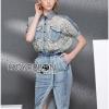 Lady Ribbon Korea Dress Denim LR04230616 &#x1F380 Lady Ribbon's Made &#x1F380 Lady Sabina Smart Vintage Lace and Denim Shirt Dress