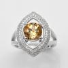 แหวนพลอยแท้ แหวนเงิน925 ชุบทองคำขาว พลอยซิทริน ประดับเพชร CZ เกรดพรีเมี่ยม