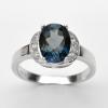 แหวนพลอยแท้ แหวนเงิน925 ชุบทองคำขาว พลอยลอนดอนบลูโทปาส ประดับเพชร CZ เกรดพรีเมี่ยม