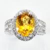 แหวนพลอยแท้ แหวนเงินแท้925 พลอยซิทริน สีเหลืองทอง เม็ดใหญ่ ล้อมด้วยเพชร CZ
