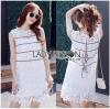 Lady Ribbon Korea เสื้อผ้าเกาหลี ของแท้พร้อมส่ง Lady Ribbon Dress LR08250716 &#x1F380 Lady Ribbon's Made &#x1F380 Lady Kate Sporty Sweet White Lace Dress เดรสผ้าลูกไม้