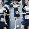 Lady Ribbon Korea Brand SS17300516 Seoul Secret Say's .... Ladiest Netty Stipy Line Denim Dress