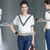 Seoul Secret Say's... Vee Stripy Ivory Lace Tops Denim Lace Side Split Set