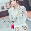 Lady Ribbon Korea LR12230616 &#x1F380 Lady Ribbon's Made &#x1F380 Lady Grace Minimal Chic Colourful Embroidered White Shirt and Shorts Set