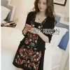 Floral Embroidered Black cotton Dress