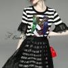 Lady Ribbon Korea Brand SW 06060616 Sweet Bunny Present... Stripe A-line Dress With Black Lace Skirt Set