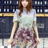 Mixed Printed Chiffon Lady Ribbon Dress