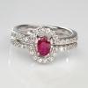 แหวนพลอยแท้ แหวนเงิน925 พลอยทับทิมสีแดงเข้ม ตกแต่งด้วยเพชร cz ชุบทองคำขาว