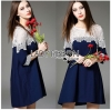 Lady Ribbon เสื้อผ้าเกาหลี LR14110716 &#x1F380 Lady Ribbon's Made &#x1F380 Lady Selena Feminine Minimal White Lace and Cotton Dress เดรสผ้าคอตตอน