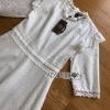 Lady Clemence Ruffle Embroidered White Cotton Dress