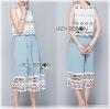 Lady Ribbon Korea Denim Dress LR22130616 &#x1F380 Lady Ribbon's Made &#x1F380 Lady Chloe White Flower Lace Top and Denim Culottes Set