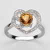 แหวนพลอยแท้ แหวนเงิน925 พลอยซิทรินธรรมชาติ สีเหลืองทอง ตกแต่งด้วยเพชร cz