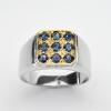 แหวนพลอยแท้ แหวนเงิน925 พลอย ไพลิน ตัวเรือน ชุบทองคำขาว ทองคำ
