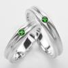 แหวนคู่รักฝังพลอยแท้ แหวนเงินแท้ 925 ชุบทองคำขาว ฝังพลอยโครมไดอ๊อกไซด์