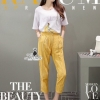 Lady Ribbon Korea Closet LV03070616 &#x1F36DKorea Design By Lavida banana decorated white top yellow pants chic set code739