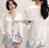 Lady Ribbon เสื้อผ้าเกาหลี LR04110716 &#x1F380 Lady Ribbon's Made &#x1F380 Lady Sara Bohemien Chic Cotton Embroidered with Lace Top เดสื้อผ้าคอตตอน