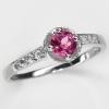 แหวนพลอยแท้ แหวนเงินแท้ 925 พลอยโทแพซสีชมพู(Pink Topaz) ตกแต่งด้วยเพชร CZ คุณภาพสูง