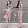 Lady Ribbon Korea Brand SV15060616 Best Seller-Restock &#x1F389Sevy Two Pieces Of Stripes Shirt With Pant Suit Sets