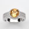 แหวนพลอยแท้ แหวนเงิน925 พลอย ซิทริน ประดับเพชร CZ ชุบทองคำขาว
