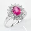 แหวนพลอยแท้แหวนเงินแท้925 พลอยแดงธรรมชาติแท้ (Ruby) ล้อมด้วยเพชร CZ คุณภาพสูง