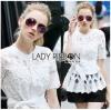 &#x1F380 Lady Ribbon's Made &#x1F380 Lady Elena Elegant Chic Button-Down White Lace Blouse with Ribbon เสื้อผ้าลูกไม้สีขาว