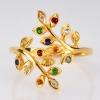 แหวนทองทรงมะกอก ประดับพลอยนพเก้า