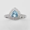 แหวนพลอยแท้ แหวนเงิน925 พลอยสวิสบลูโทปาส ประดับเพชร CZ ชุบทองคำขาว