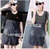 Lady Ribbon Korea Denim Dress LR13270616 &#x1F380 Lady Ribbon's Made &#x1F380 Comme des Garcons Jersey and Denim Dress เ