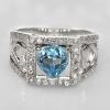 แหวนพลอยแท้ แหวนเงิน925 พลอยโทแพซสีฟ้าอ่อน ประดับเพชร CZ ชุบทองคำขาว