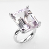 แหวนพลอยแท้ แหวนเงินแท้ 925 พลอยแท้พิงค์อเมทิส (Pink Amethyst) เม็ดใหญ่ โดดเด่น