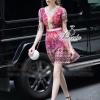 Lady Ribbon Korea Cutting LV10200616 &#x1F36DKorea Clo By Lavida golden shiny embroidery romany printed luxury dress