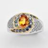 แหวนพลอยแท้ แหวนเงิน925 พลอย บุษราคัม ตัวเรือน ชุบทองคำขาว ทองคำ