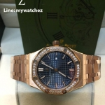Audemars Piguet Royal Oak Lady Ref.67651ST - Rose Gold Diamonds/Blue Dial