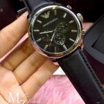 Emporio Armani Oversize Gents Chronograph Watch, Black Dial, Black Leather Strap