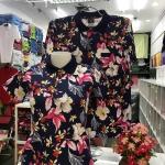 เสื้อโปโลลายดอก ใบชมพูแบบ3 เนื้อผ้า COTTON100% เหลือ SIZE หญิง XXL