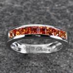 แหวนสลักชื่อ ฝังพลอยบุษราคัมแท้ ตัวเรือนทองคำขาวแท้ สามารถเลือกพลอยได้